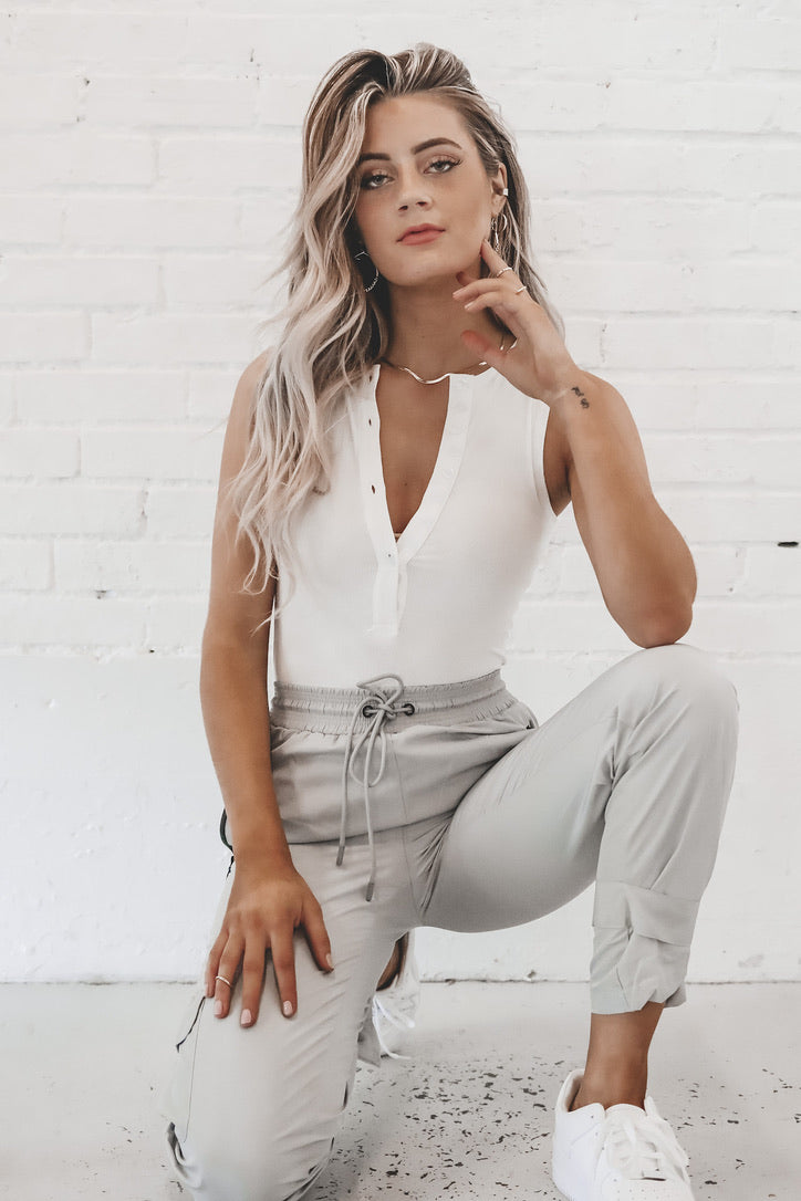BAYSE Back At It Again White Button Up Bodysuit