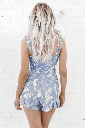 Last Call Lace Up Blue Romper