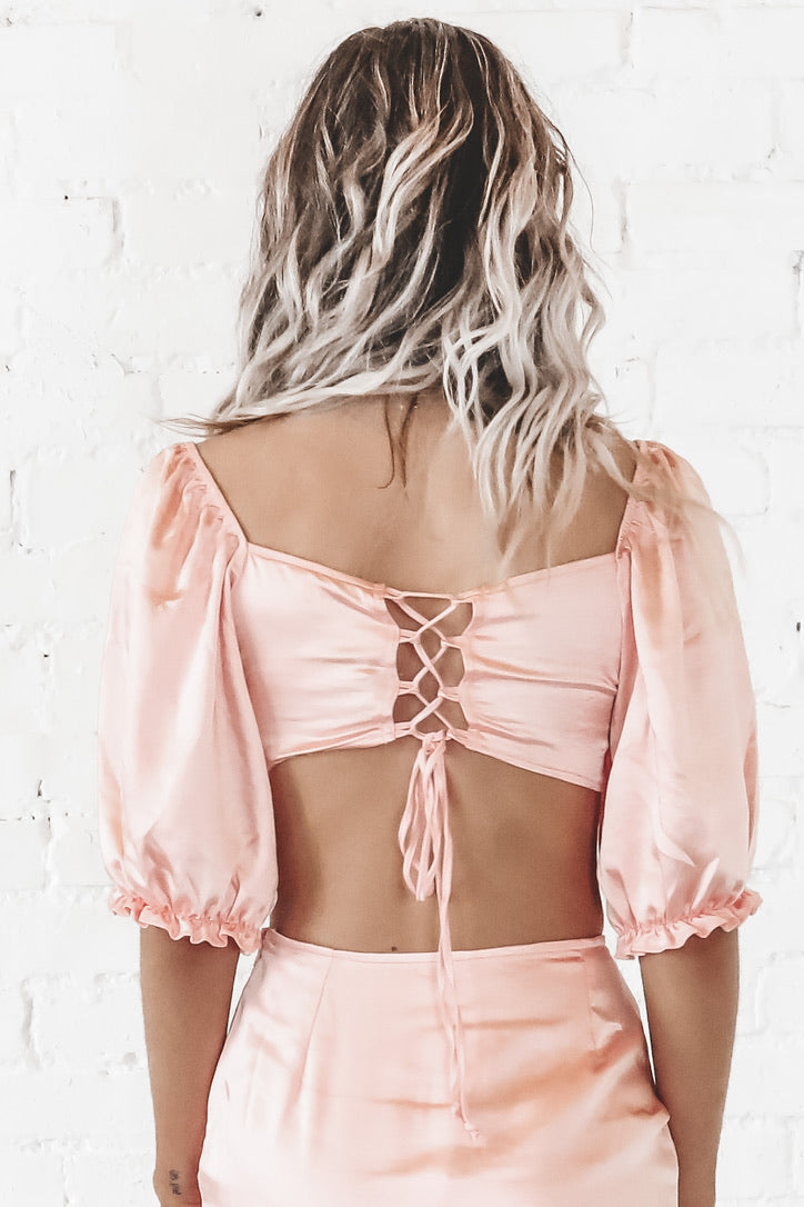 MOTEL Mirella Crop Top In Satin Peach