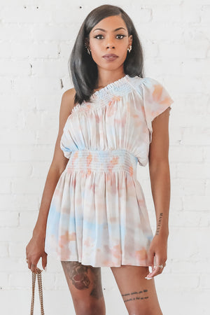 Walk My Way Tie Dye One Shoulder Dress