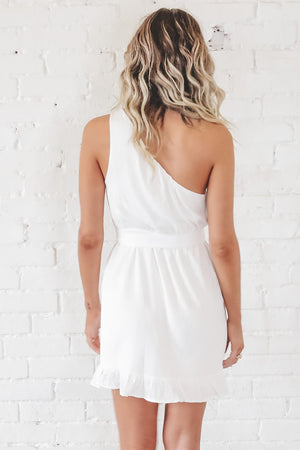 Cheers To You White One Shoulder Dress