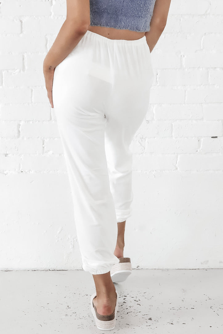 Bend And Snap Ivory Velvet Lounge Pants