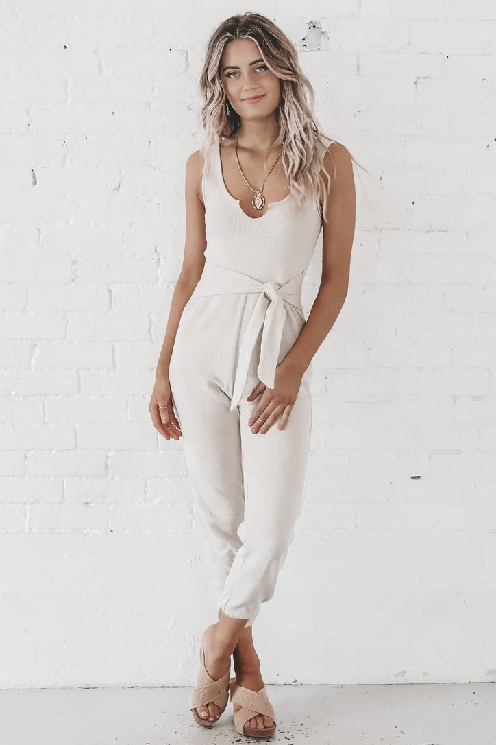 A Midnight Jog Beige Casual Jumpsuit