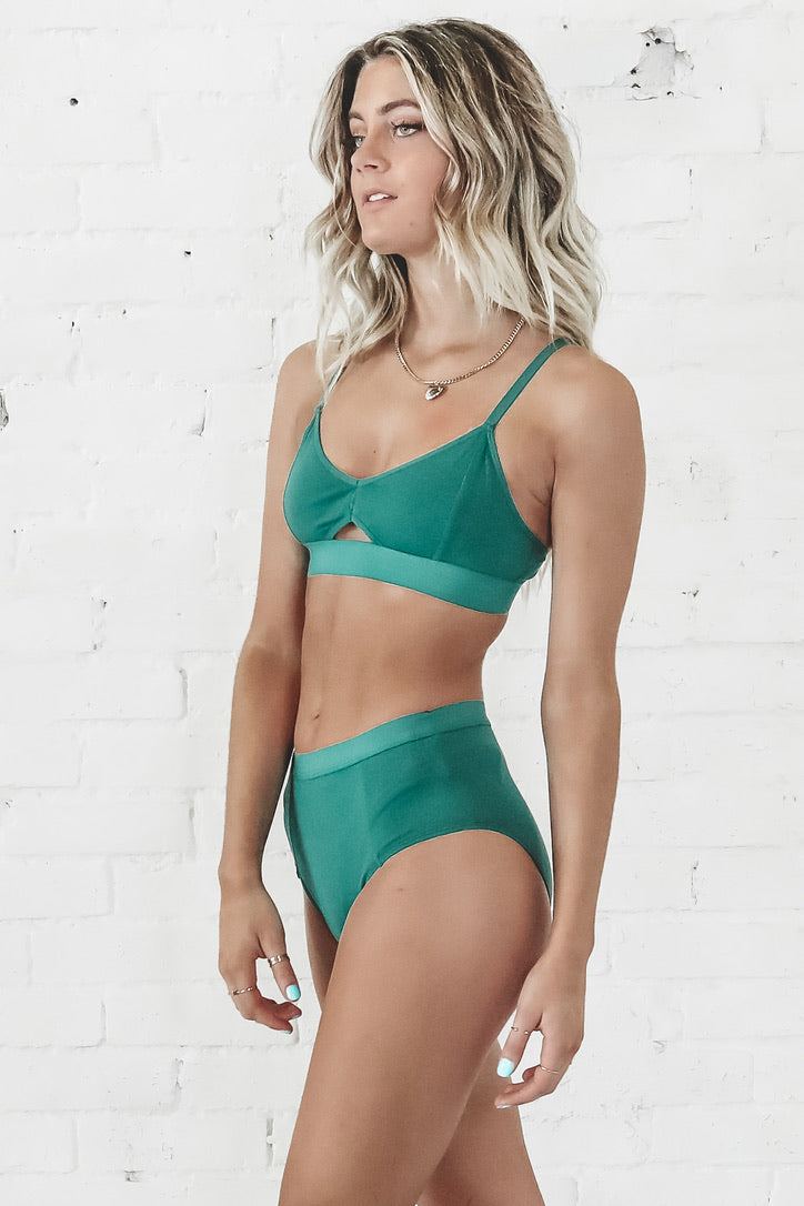 RICHER POORER Cut Out Bralette In Evergreen Loungewear