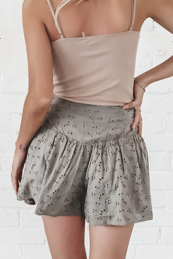 Casually Speaking Olive Eyelet Shorts