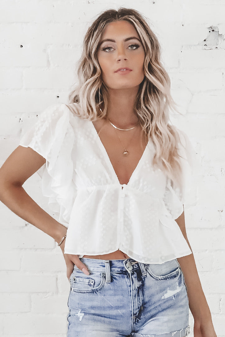 Think It Through White Ruffled Top