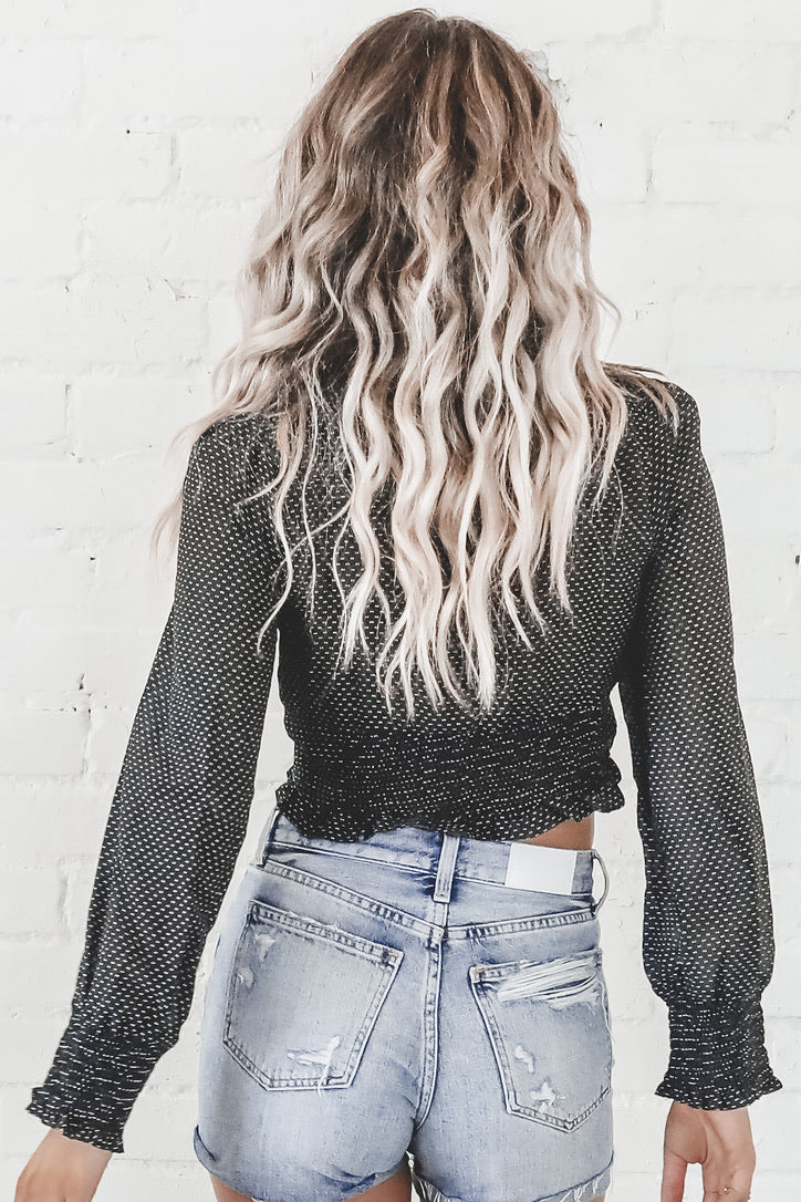 Walk This Way Buttoned Crop Top