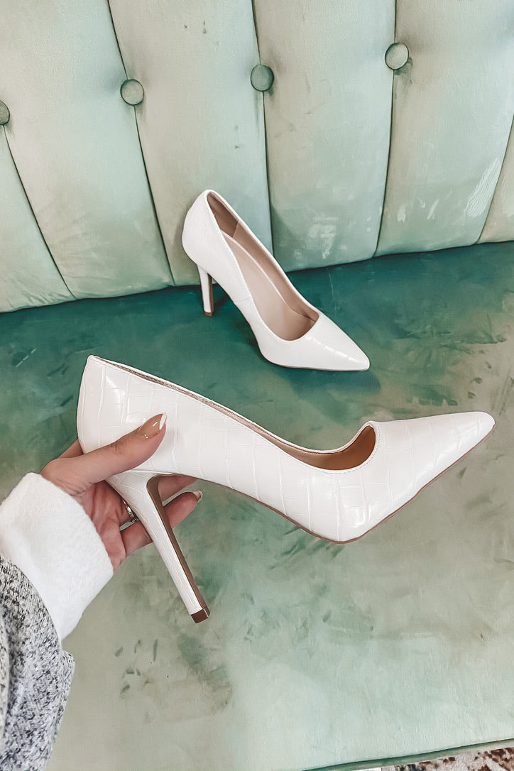 Raise Your Game White Croc Heels