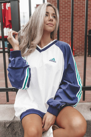 VINTAGE 90's White Navy And Green Adidas Windbreaker 111
