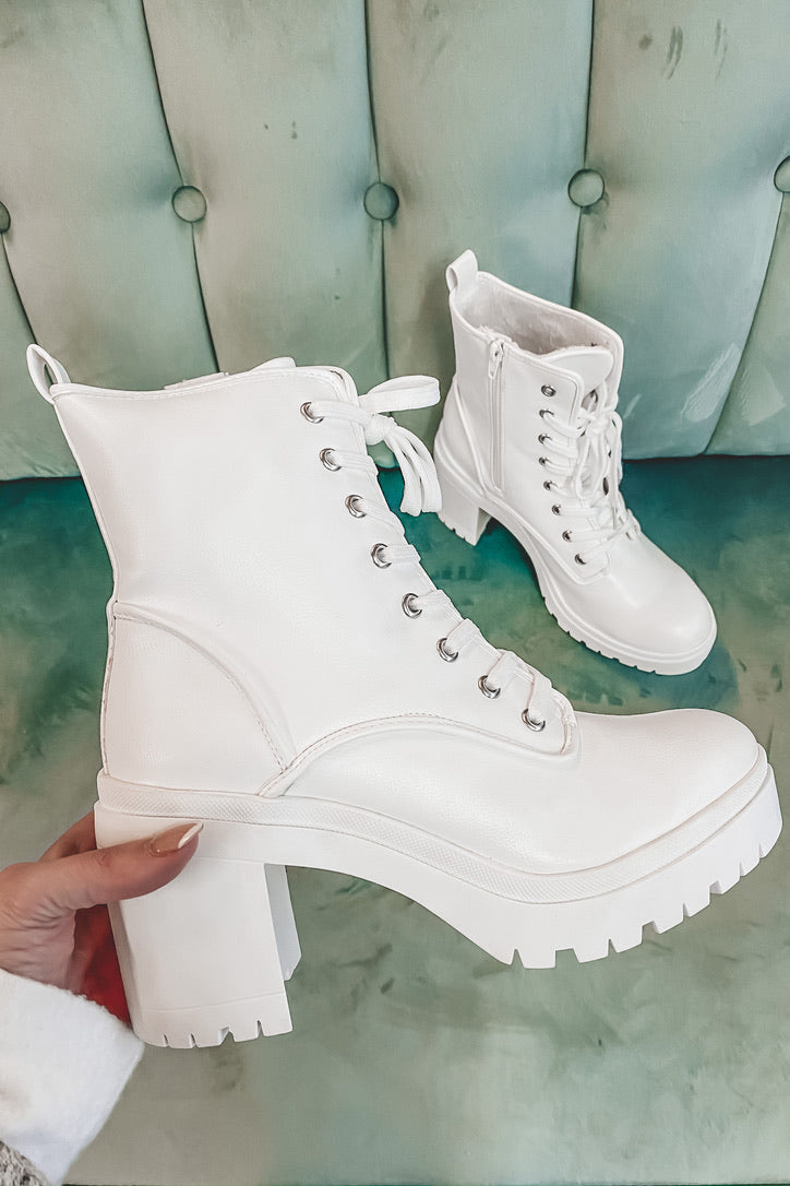 Winter Whites Platform Lace Up Boot
