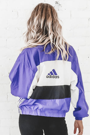 VINTAGE 90's Purple Colorblock Adidas Windbreaker 115
