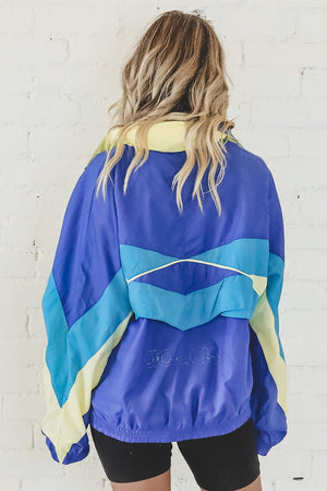 VINTAGE 90's Blue Colorblock Adidas Windbreaker 116