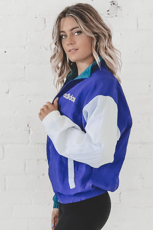 VINTAGE 90's Blue Colorblock Adidas Windbreaker 117