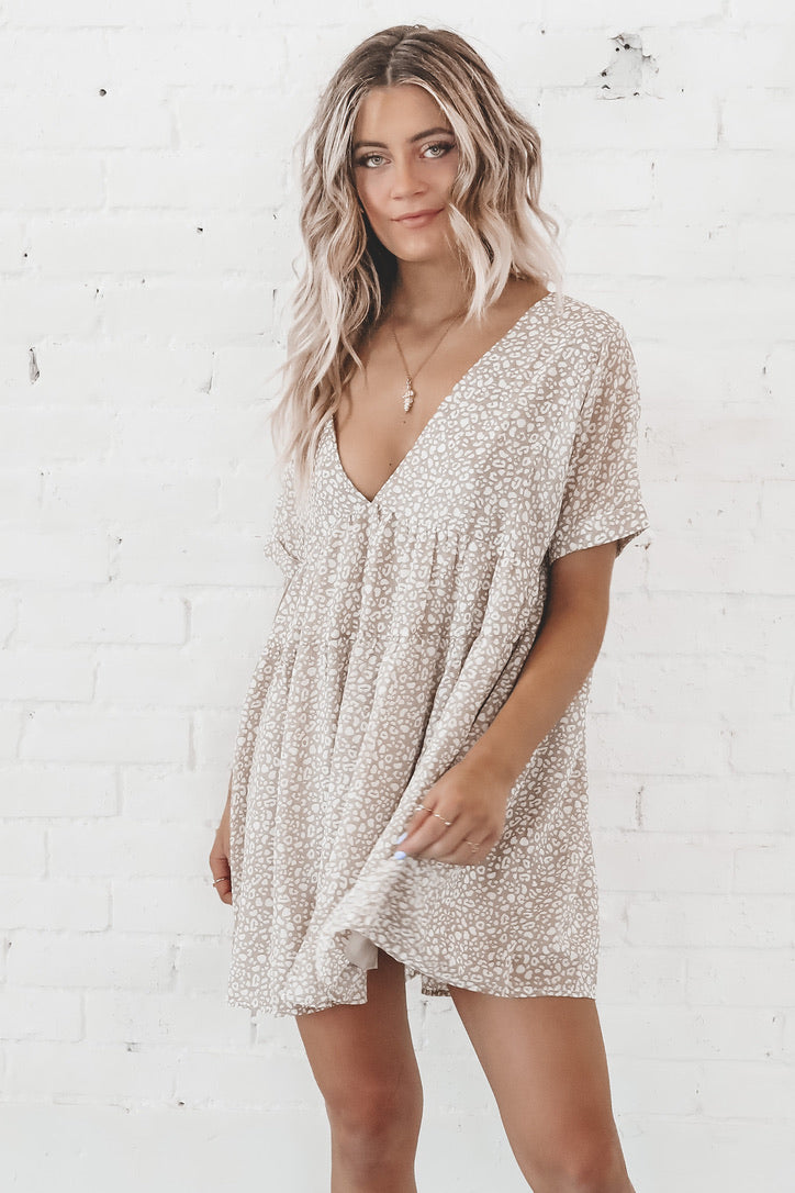 Hey Babe Taupe Babydoll Dress