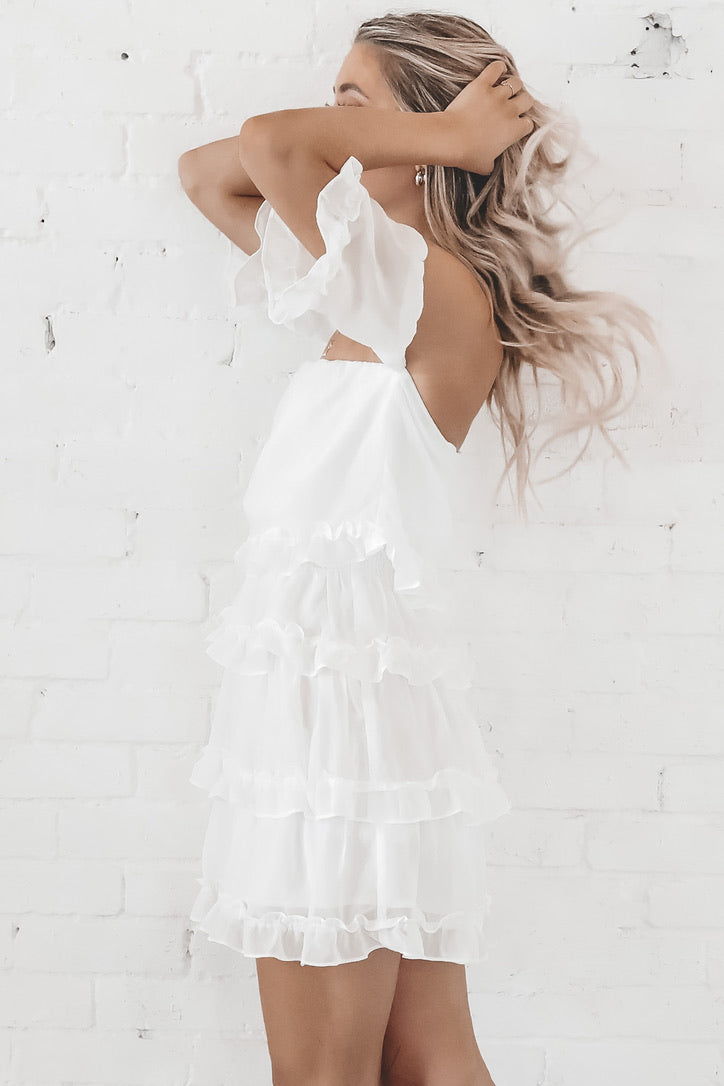 Ruffled Feathers White Off The Shoulders Dress