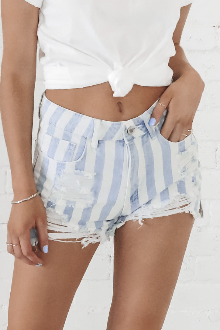 BuddyLove Sheriff Distressed High Waisted Denim Shorts - Blue Stripe