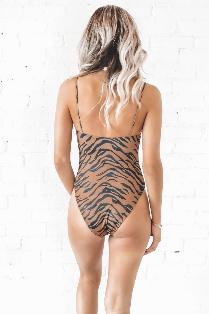 BuddyLove Nicole Square Neck One Piece - Tiger