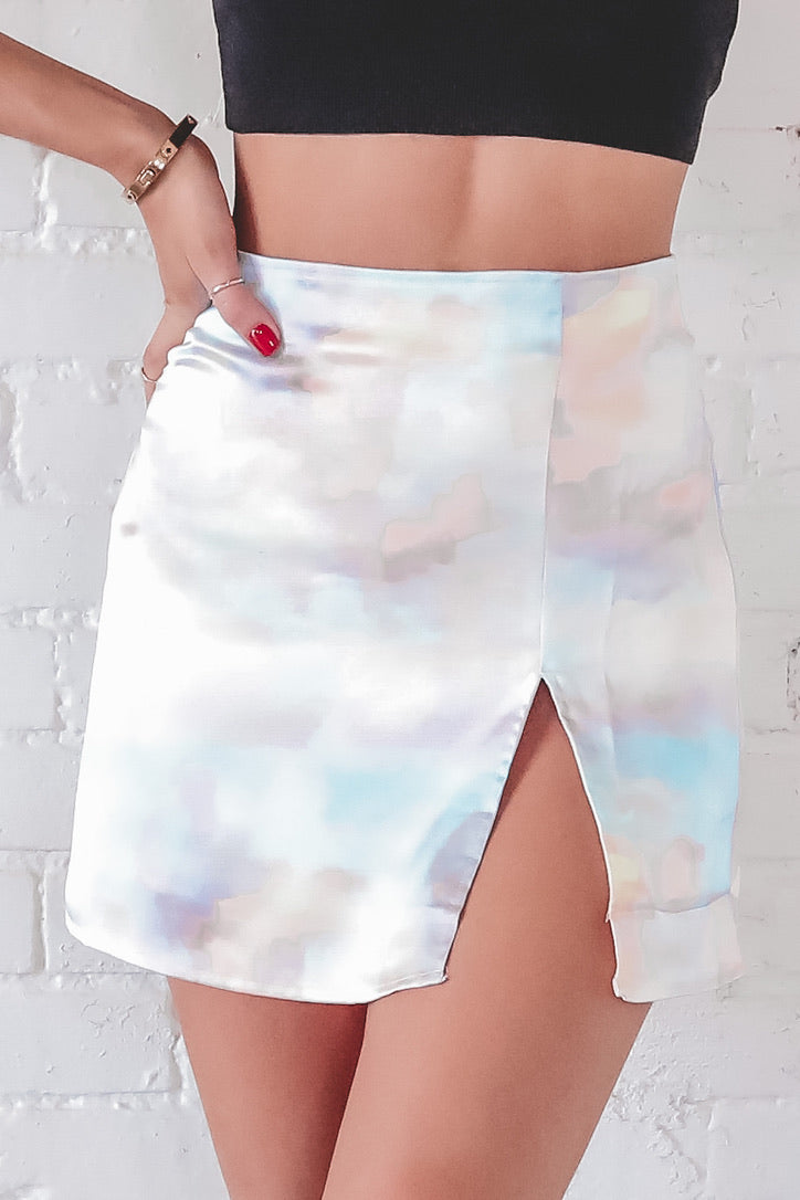 Clouds Of Color Satin Mini Skirt