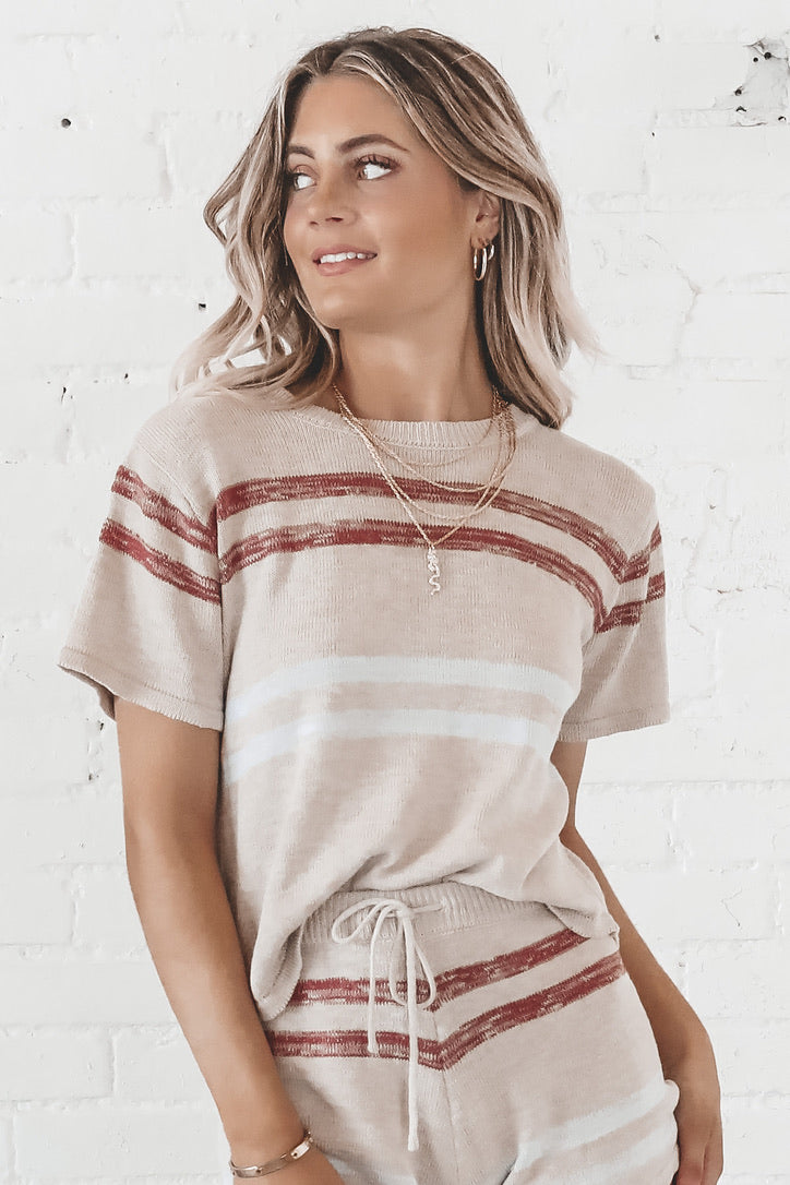 Staying In Taupe Knit Top