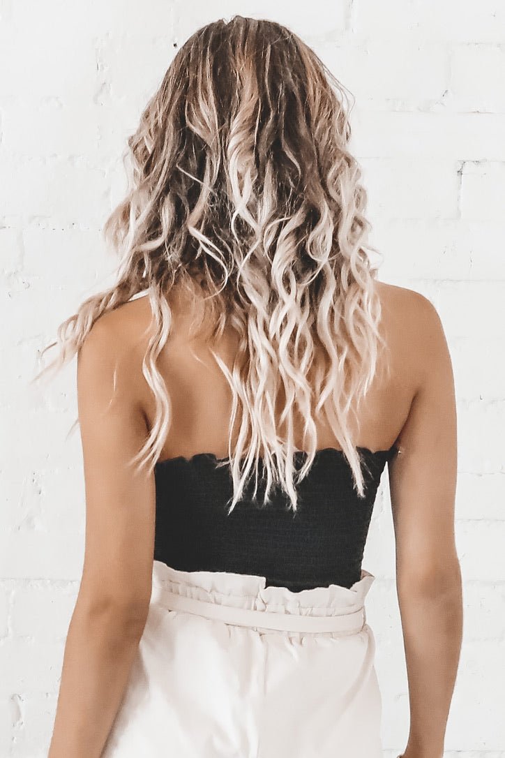 Steal Your Heart Black Smocking Tube Top