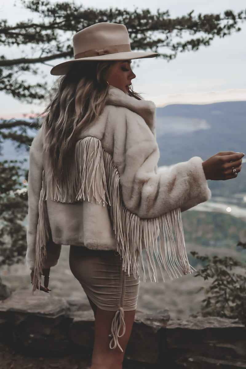 Wine By The Fire Vanilla Fringe Jacket