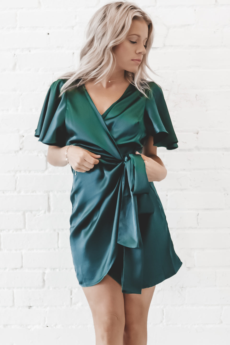 Fantasy Forest Green Satin Wrap Dress