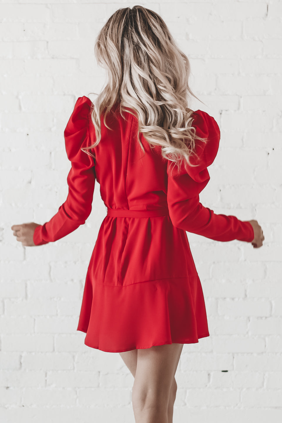 Party Queen Red Ruffle Wrap Mini Dress