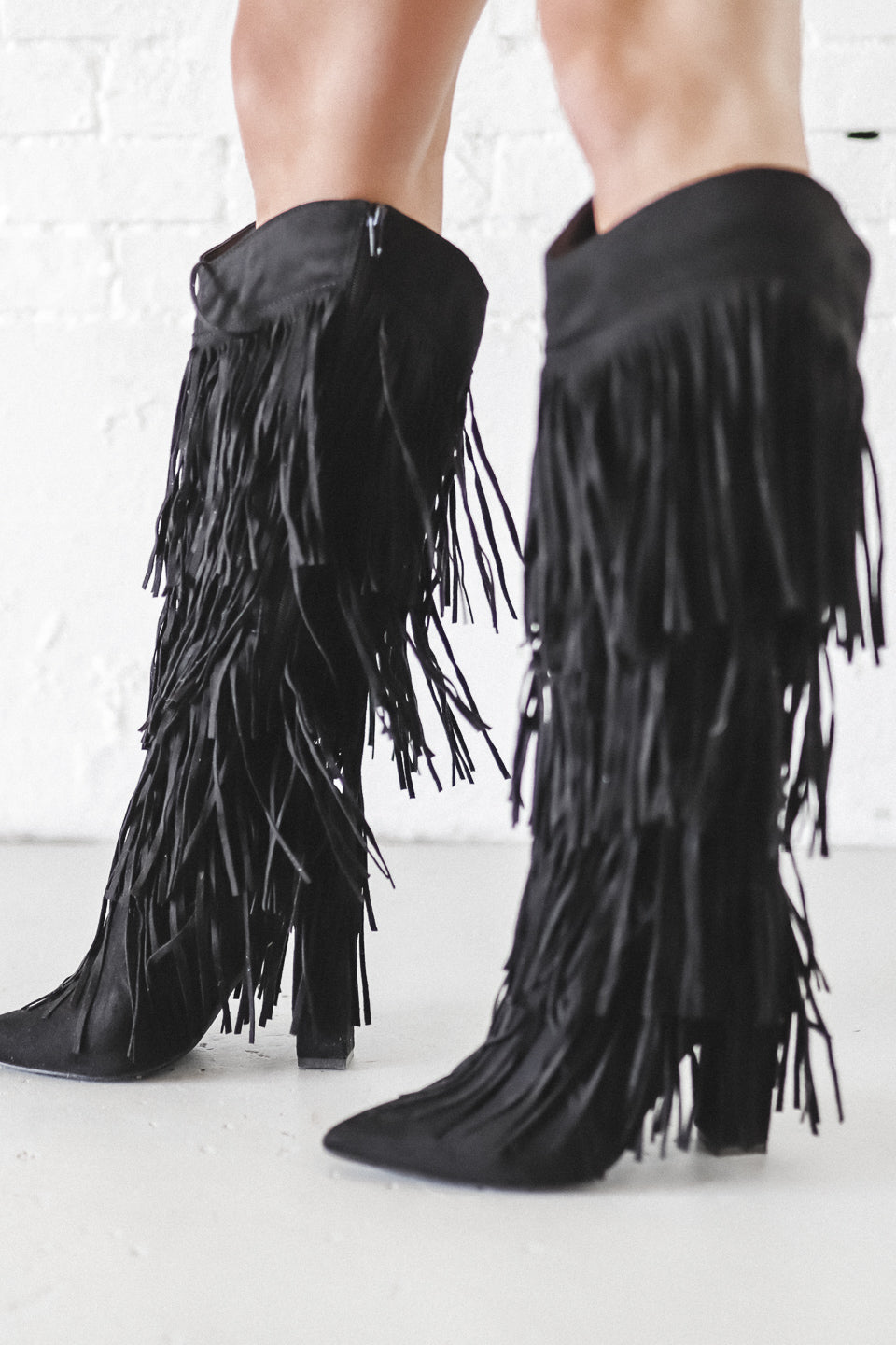 Kick The Dust Up Suede All Over Fringe Heel Boot