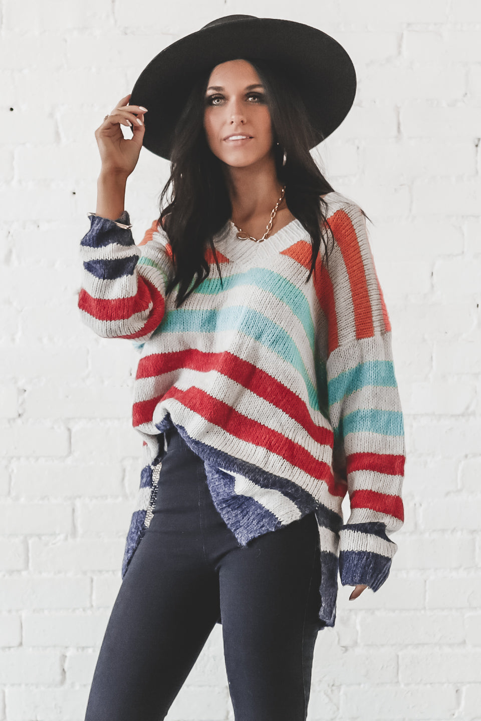 Candy Land Rust Striped Sweater