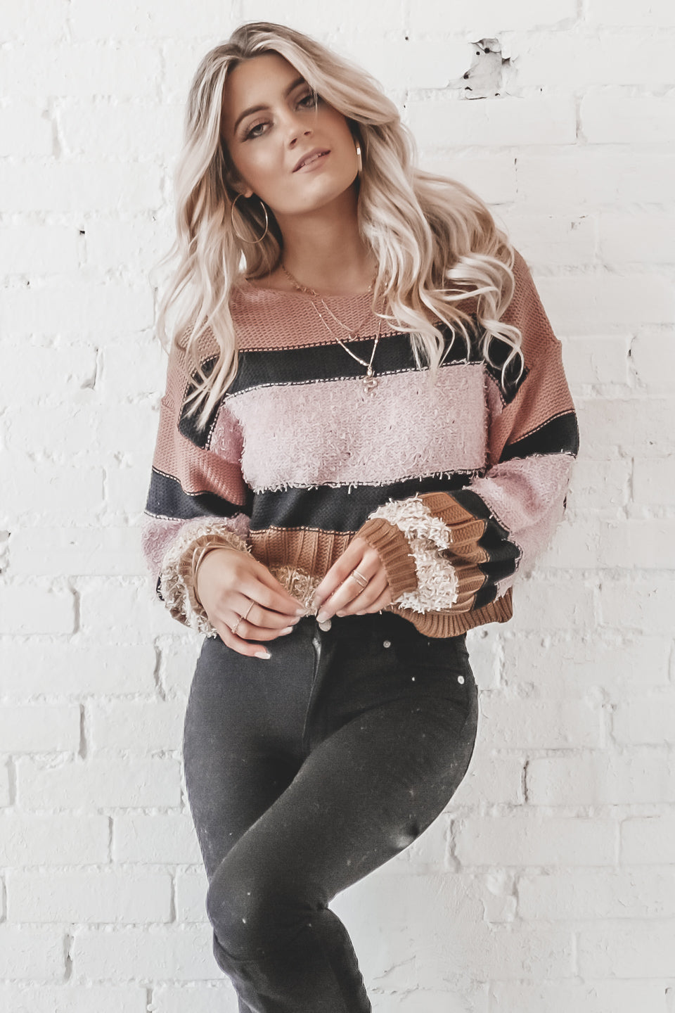 Dancing On My Own Blush Lavender Striped Shag Sweater