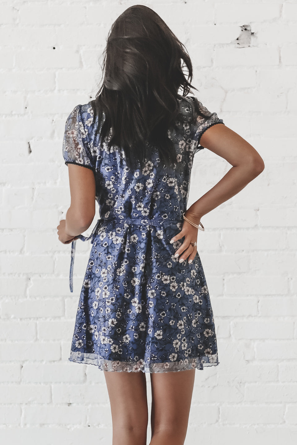 Kisses To My Misses Navy Floral Wrap Dress
