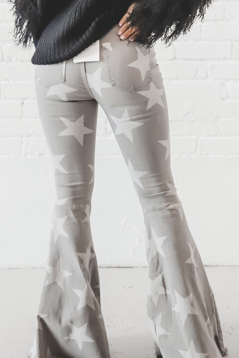 Saved By The Bell Star Printed Flare Grey Denim