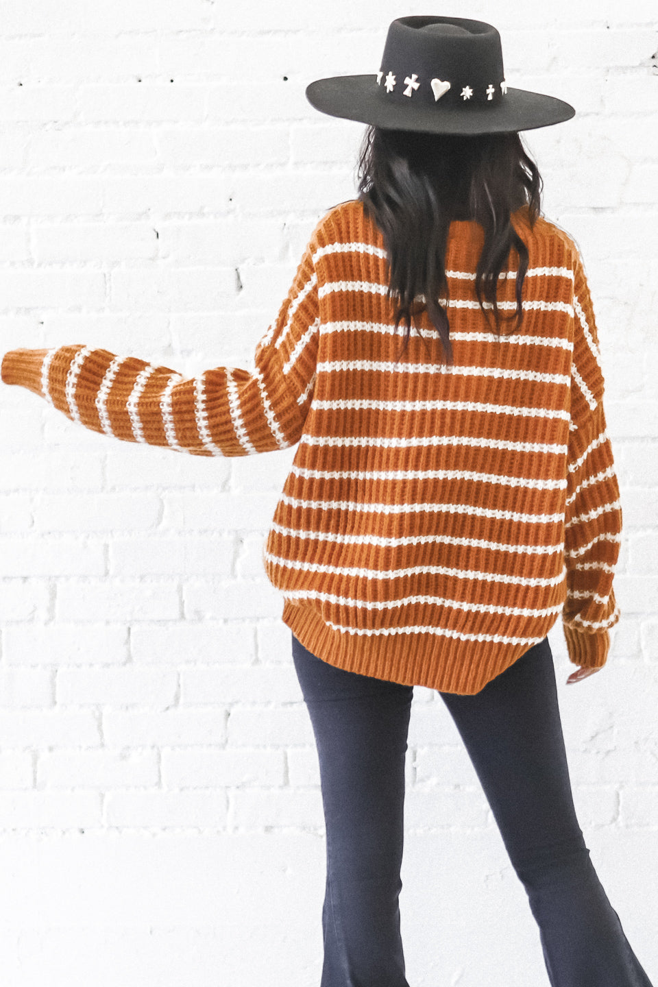 Central Park Rust Striped Sweater