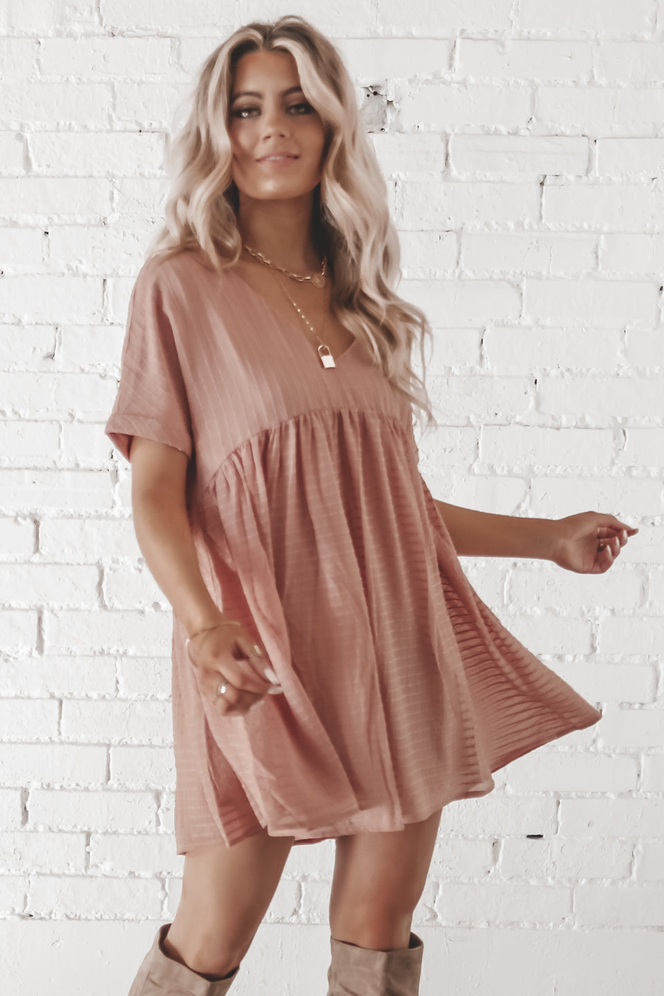 Pretty Please Short Sleeve Mauve Babydoll Lined Dress