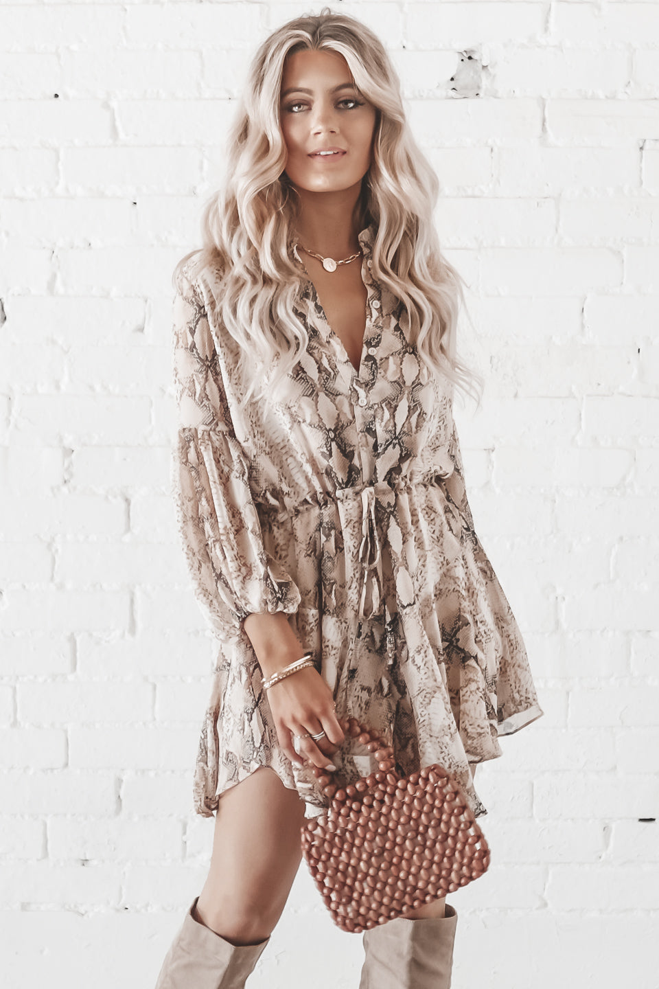 Buy Me Flowers Khaki Snake Button Up Tie Dress