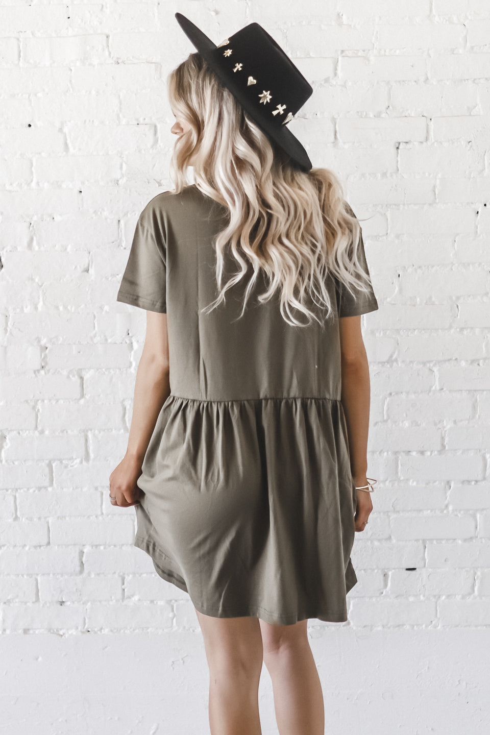 Ditzy Debby High Neck Olive Dress