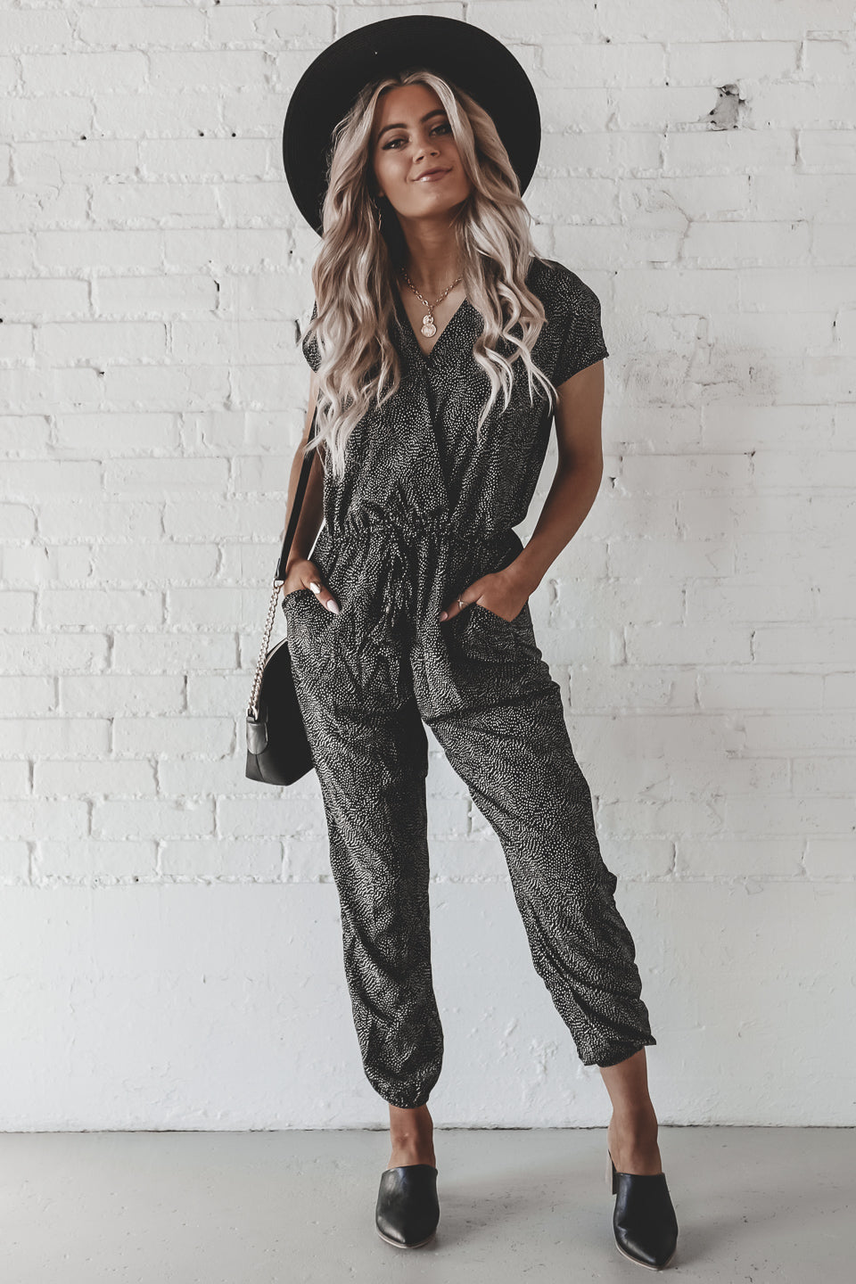 Pick Pocket Pindot Black Jumpsuit
