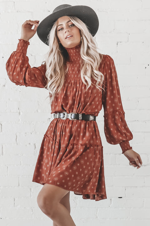 The Night We Met Rust Smocked Tiered Dress