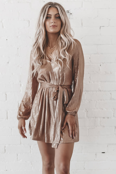 Make Em Say Wow Copper Shimmer Dress