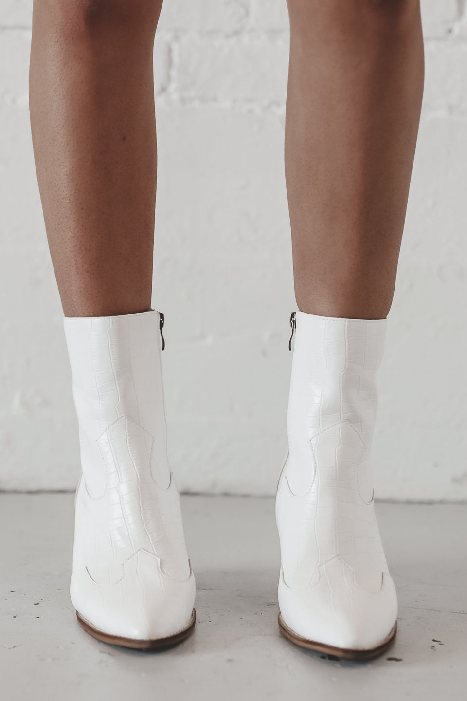 Make 'Em Remember White Croc Booties