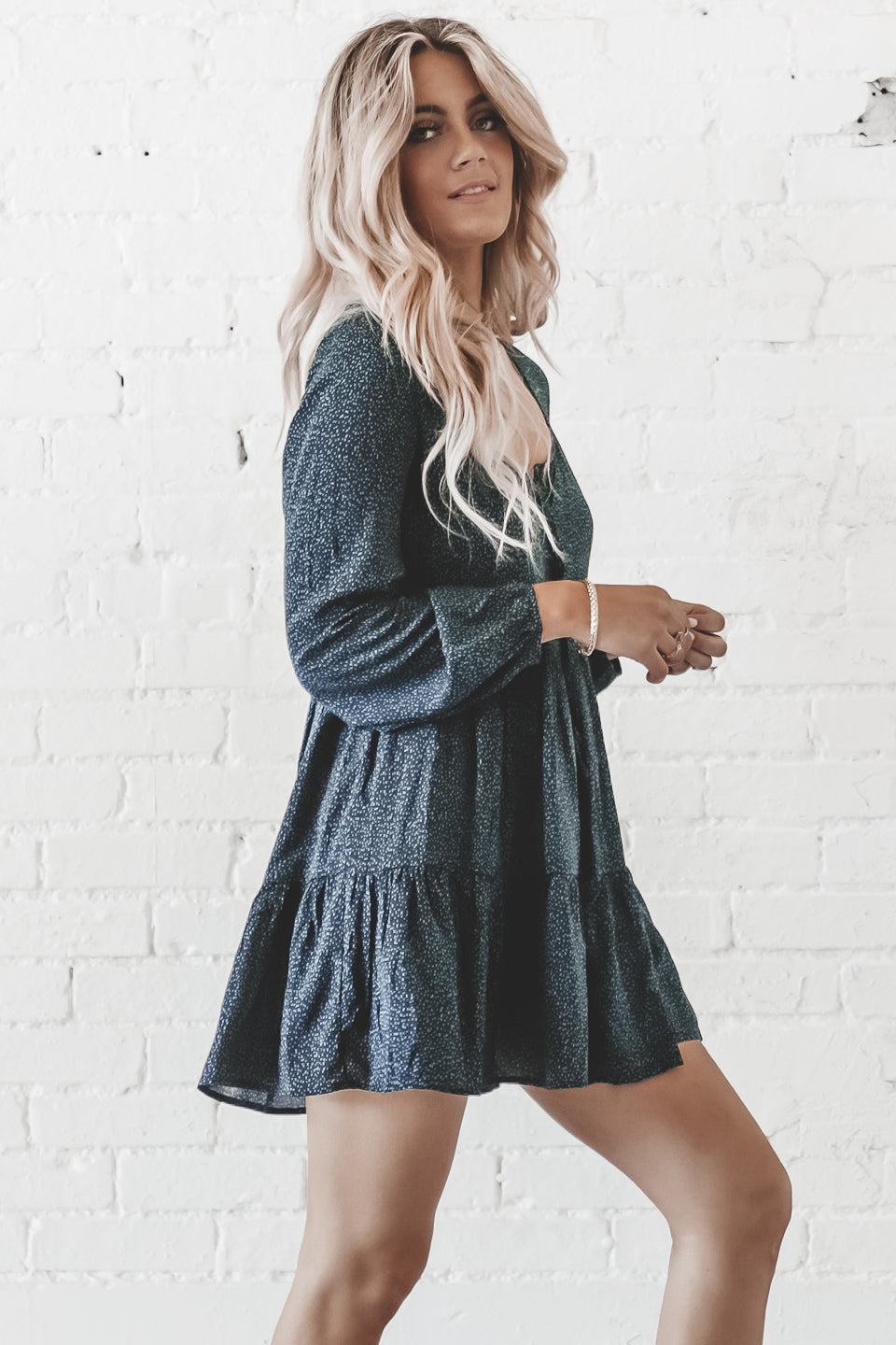 Sit Still Look Pretty Long Sleeve Button Up Baby Doll Dress