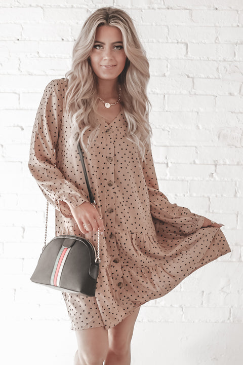 Walk With Me Dusty Peach Polka Dot Dress