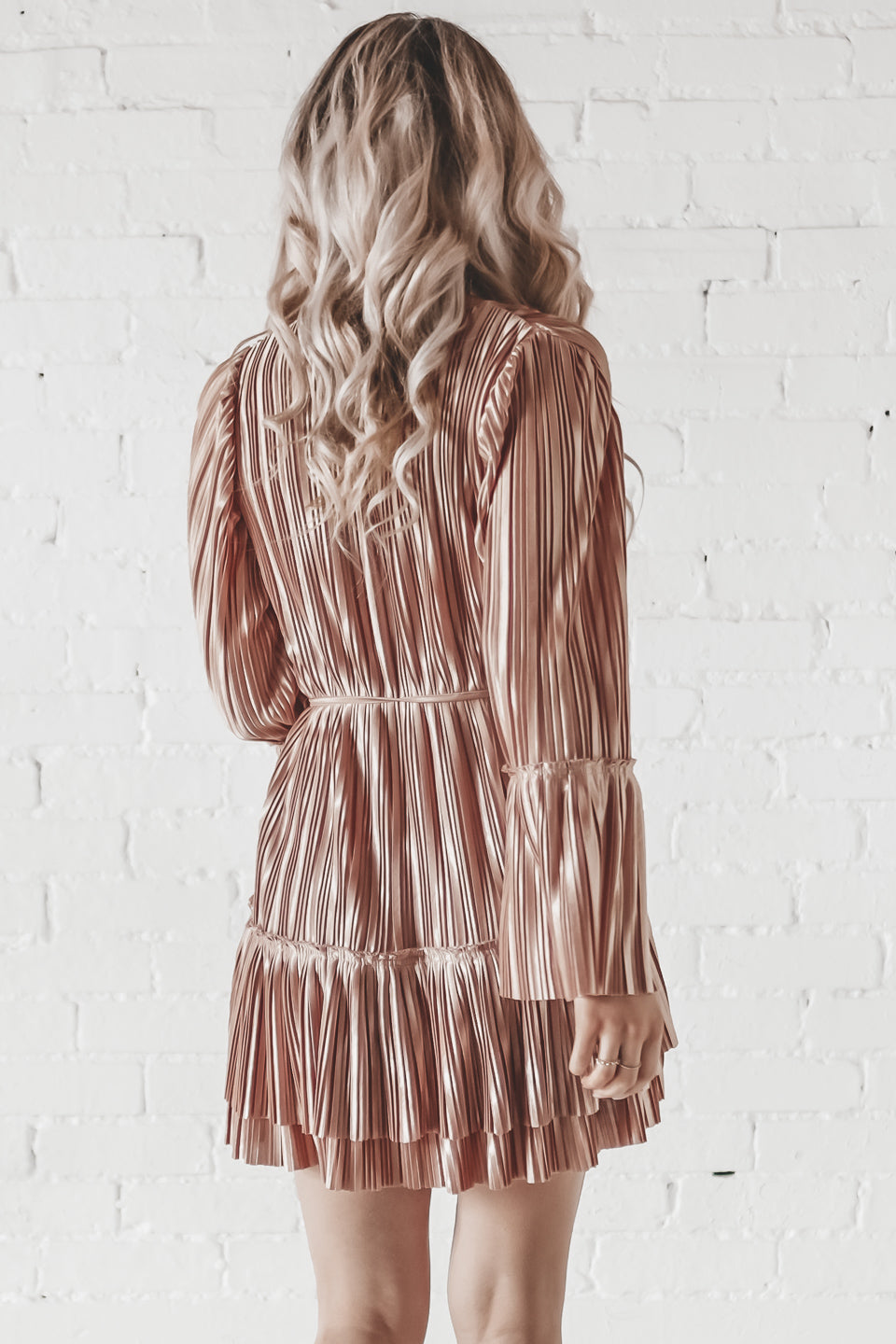 Come Over Rust Sparkly Long Sleeve Tiered Dress