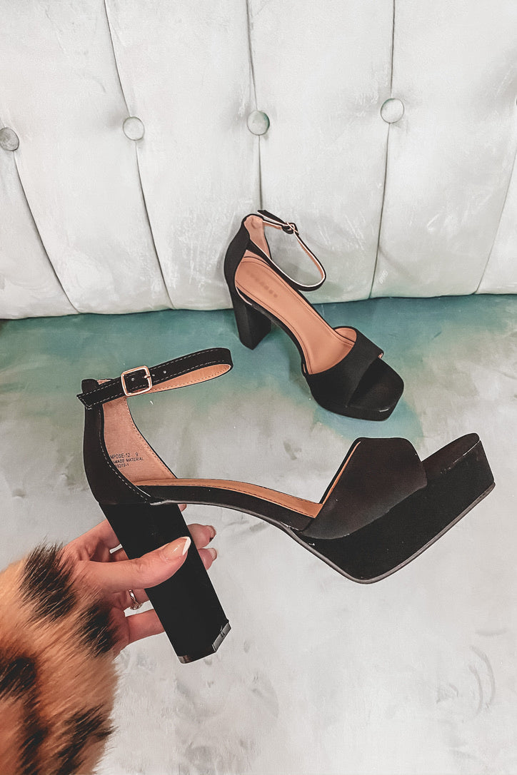 Make Way Black Block Heels