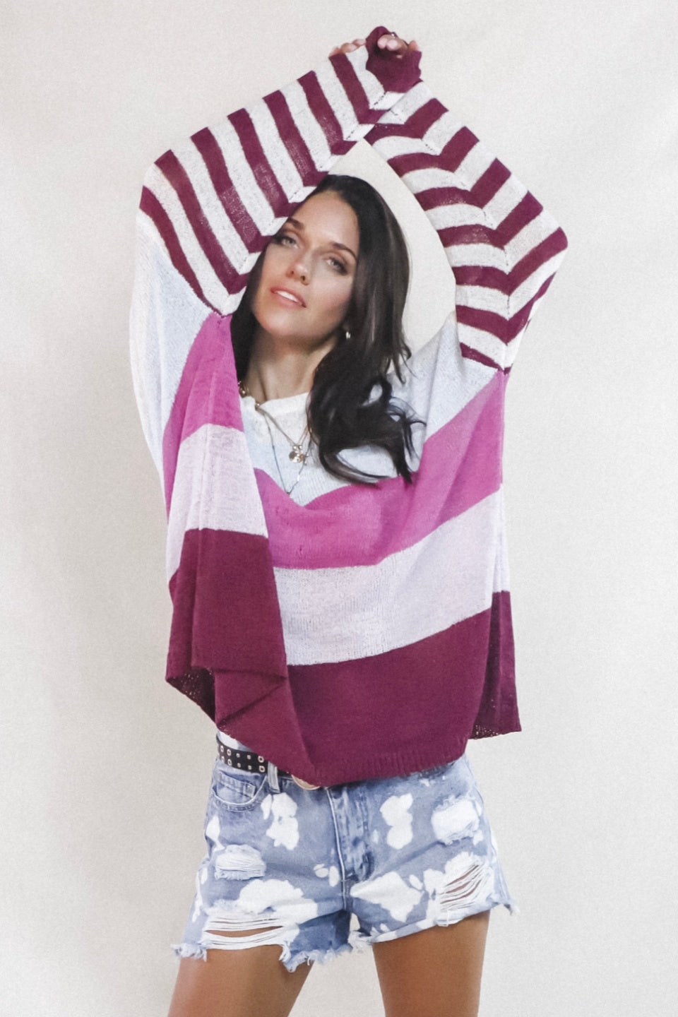 High Tide Burgundy Striped Breezy Pullover