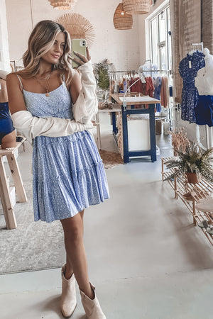 Post Summertime Blues Tiered Mini Dress