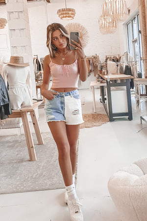 Best For Last Blue And White Color Block Shorts