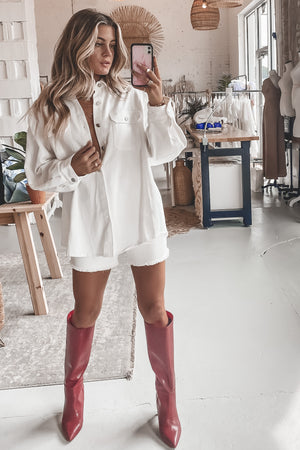 Heartbreaker White Oversized Denim Jacket And Shorts Set