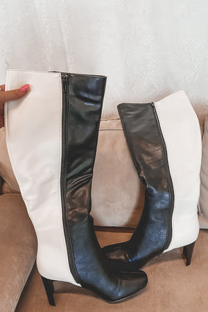 Double Trouble Black And White Color Block Boots