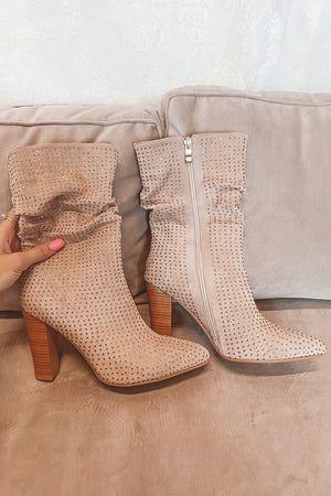 Pep In Your Step Beige Rhinestone Booties